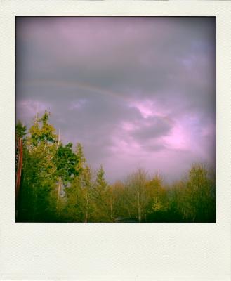 full rainbow all the way across the sky!